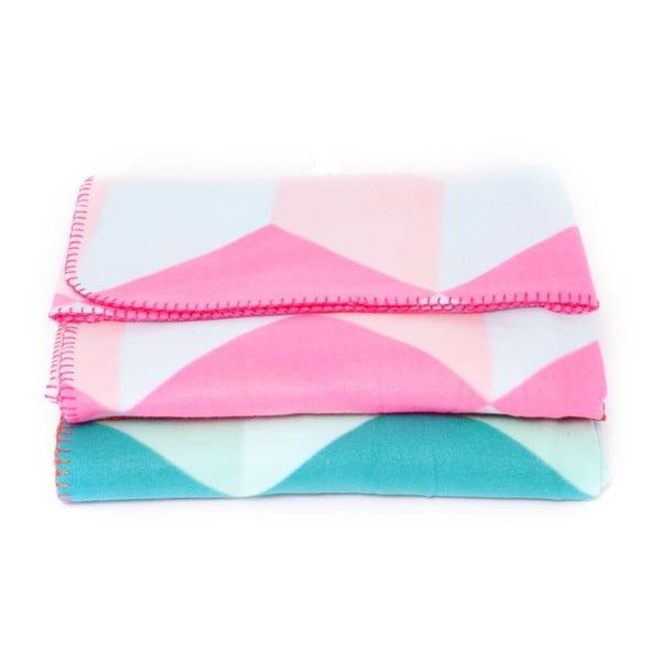 Flísová deka Block Pink, 180x150 cm