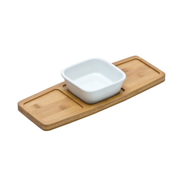 Servírovacia doštička s miskou Premier Housewares Bamboo Snack