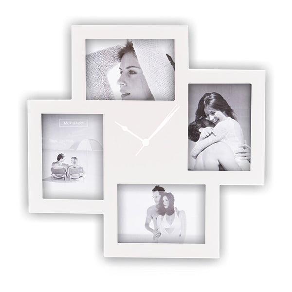 Biele nástenné hodiny s fotorámikmi Tomasucci Collage