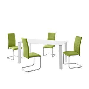 Sada stola a 4 zelených stoličiek Støraa Naral