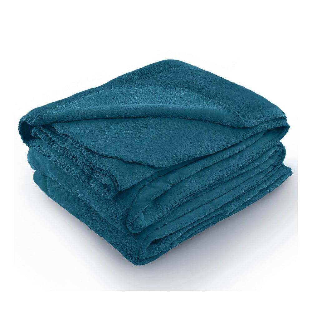 Indigovomodrá deka z mikrovlákna AmeliaHome Tyler, 150 × 200 cm