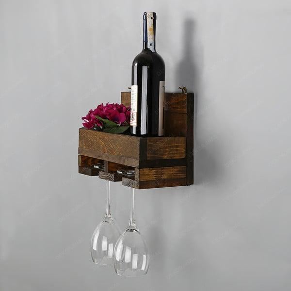Ručne vyrábaný stojan na víno a držiak na poháriky z masívneho dreva Catalin Regina, 30 × 20 × 14 cm