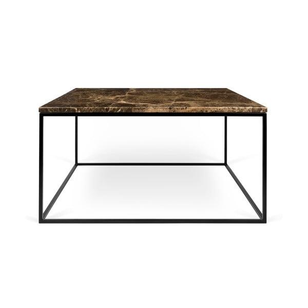 Hnedý mramorový konferenčný stolík s čiernymi nohami TemaHome Gleam, 75cm