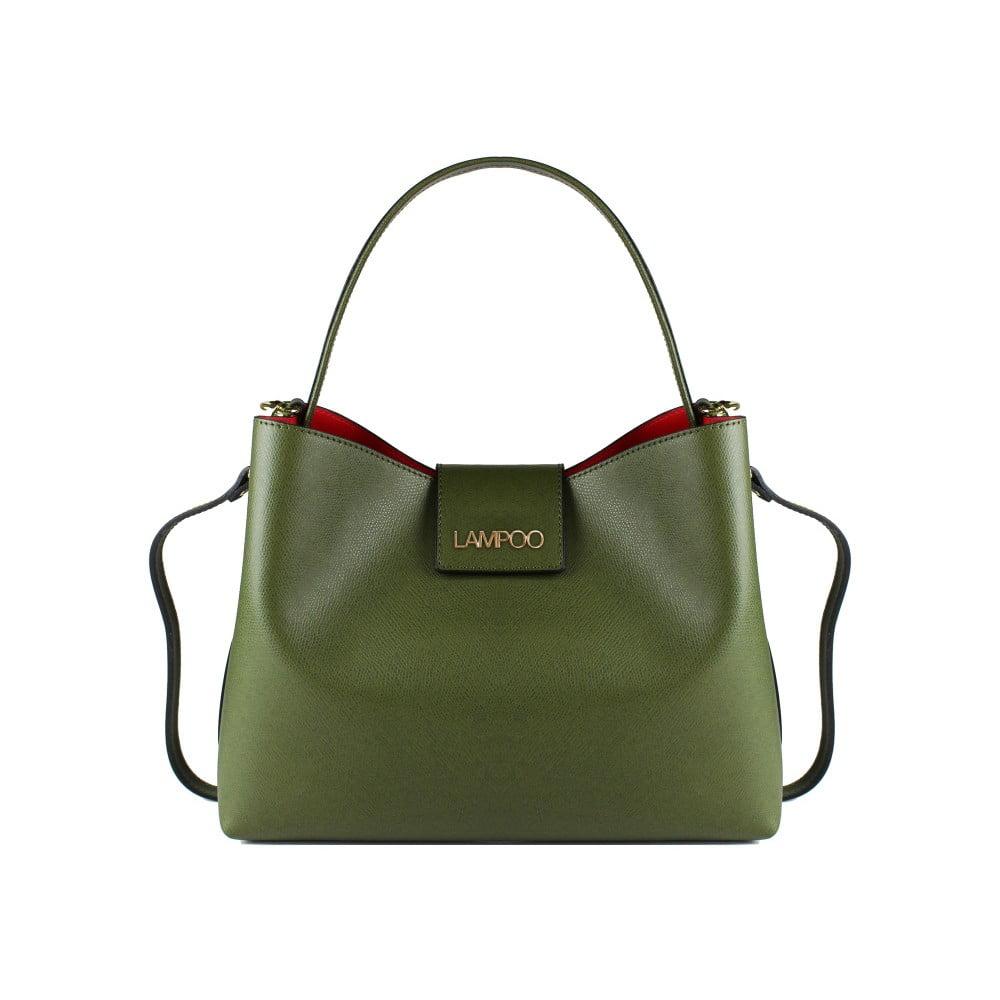 e2ea296710 Zelená kožená kabelka Lampoo Tandora