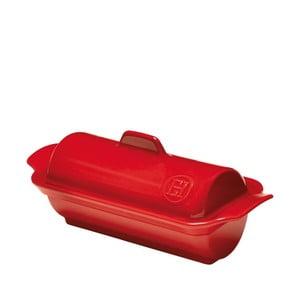 Červená zapekacia nádoba na paštétu Emile Henry, 23x10 cm