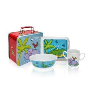 Detský raňajkový set v kufríku Silly Design Hippo