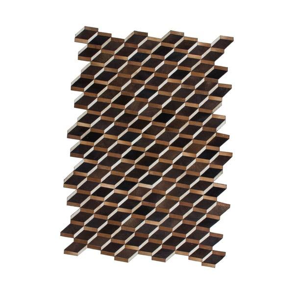 Kožený koberec Revolution Brown, 116x174 cm