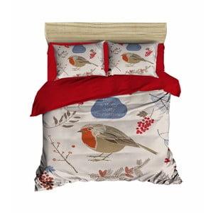 Sada obliečky a plachty na dvojposteľ Birds Red Big, 200×220 cm