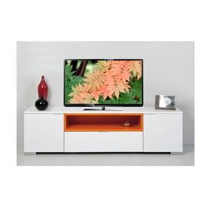 Televízny stolík Grand, biely/oranžový