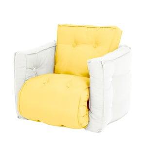 Žlté detské rozkladacie kresielko s prírodnou konštrukciou Karup Mini Dice