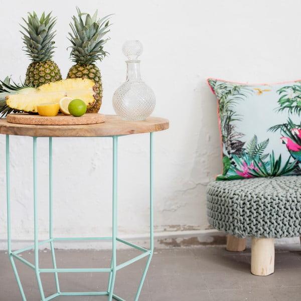 Mentolovozelený stolík s doskou zmangového dreva HF Living Hexa Mint