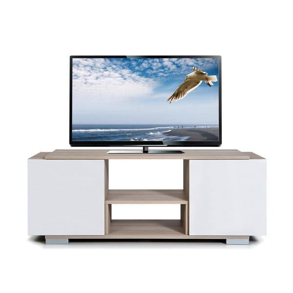 Televízny stolík Pera, biely/dub cordoba