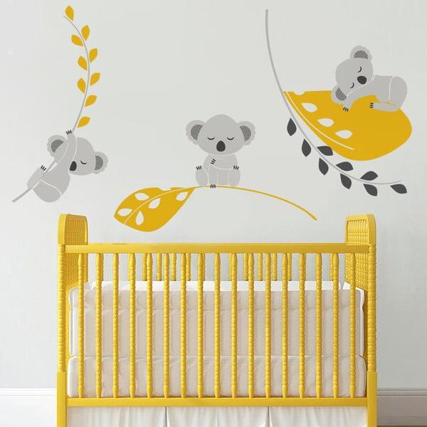 Samolepka Spiace koaly, žltá, 70x50 cm