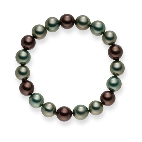 Perlový náramok Mystic Green Grey, 20 cm