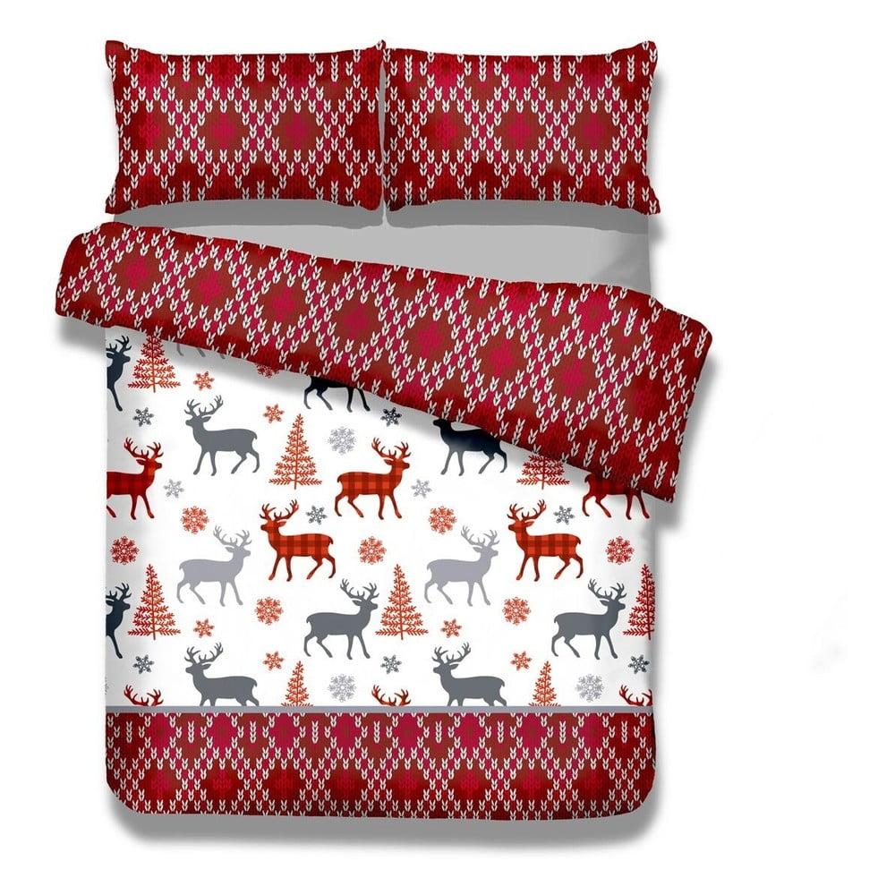 Flanelové posteľné obliečky AmeliaHome Winter Reindeer, 155 x 220 cm