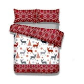 Flanelové posteľné obliečky AmeliaHome Winter Reindeer, 135×200 cm