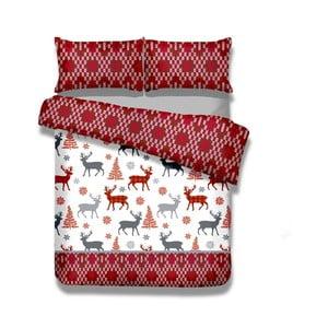 Predĺžené flanelové obliečky na dvojlôžko AmeliaHome Winter Reindeer, 200×220 cm + 70 x 80 cm