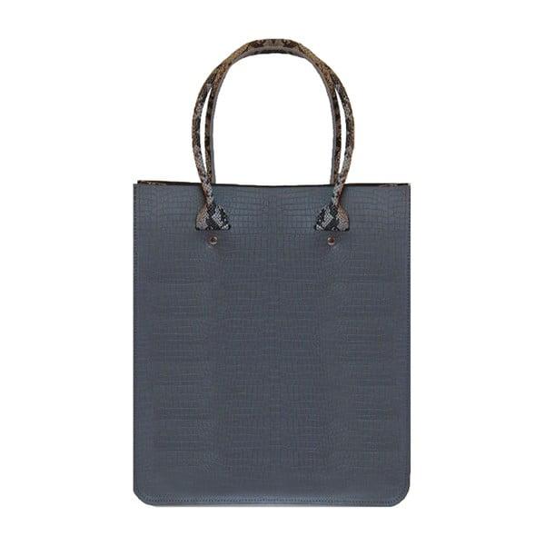 Kožená kabelka Two Tone Grey Croc/Snakeprint
