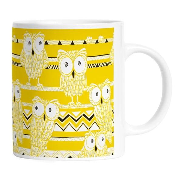Keramický hrnček Yellow Owls, 330 ml