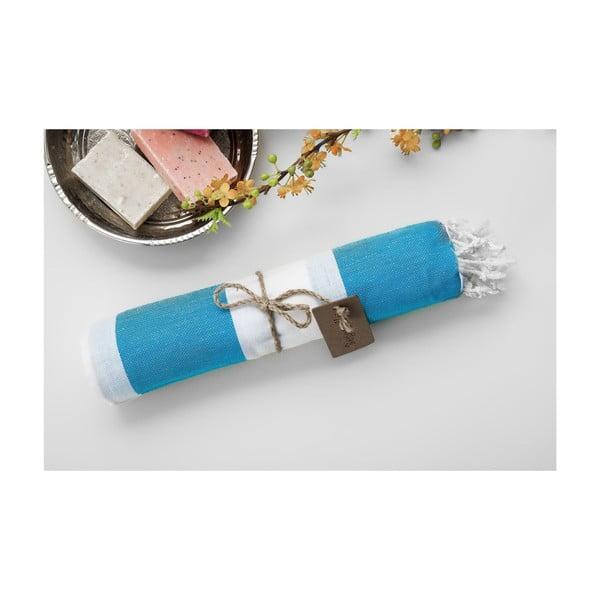 Hammam osuška Myra Turquoise White, 100x180 cm