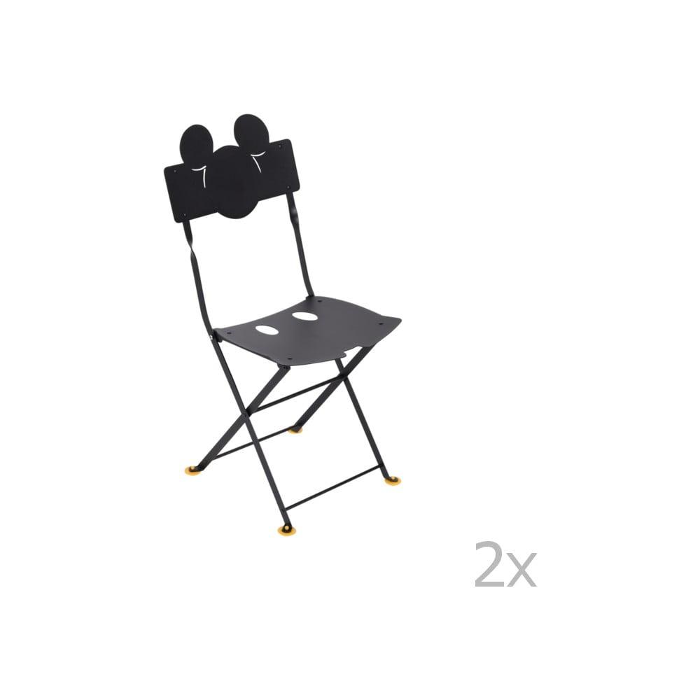Sada 2 čiernych detských kovových záhradných stoličiek Fermob Bistro Mickey Junior