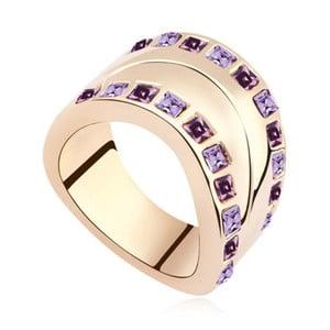 Pozlatený prsteň s fialovými krištáľmi Swarovski Josephine, veľkosť 52