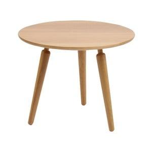 Prírodný konferenčný stolík z dubového dreva Folke Cappuccino, výška 50 cm × ∅ 60 cm