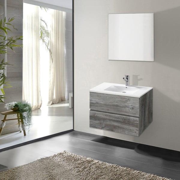 Kúpeľňová skrinka s umývadlom a zrkadlom Flopy, vintage dekor, 60 cm
