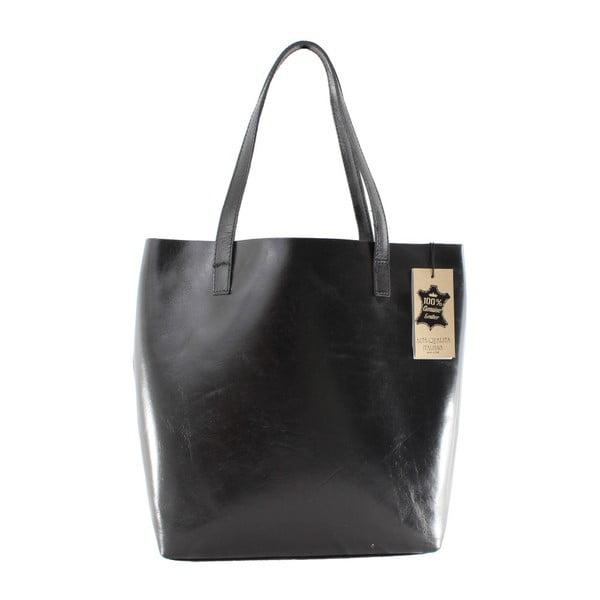 Čierna kožená kabelka Chicca Borse Greta