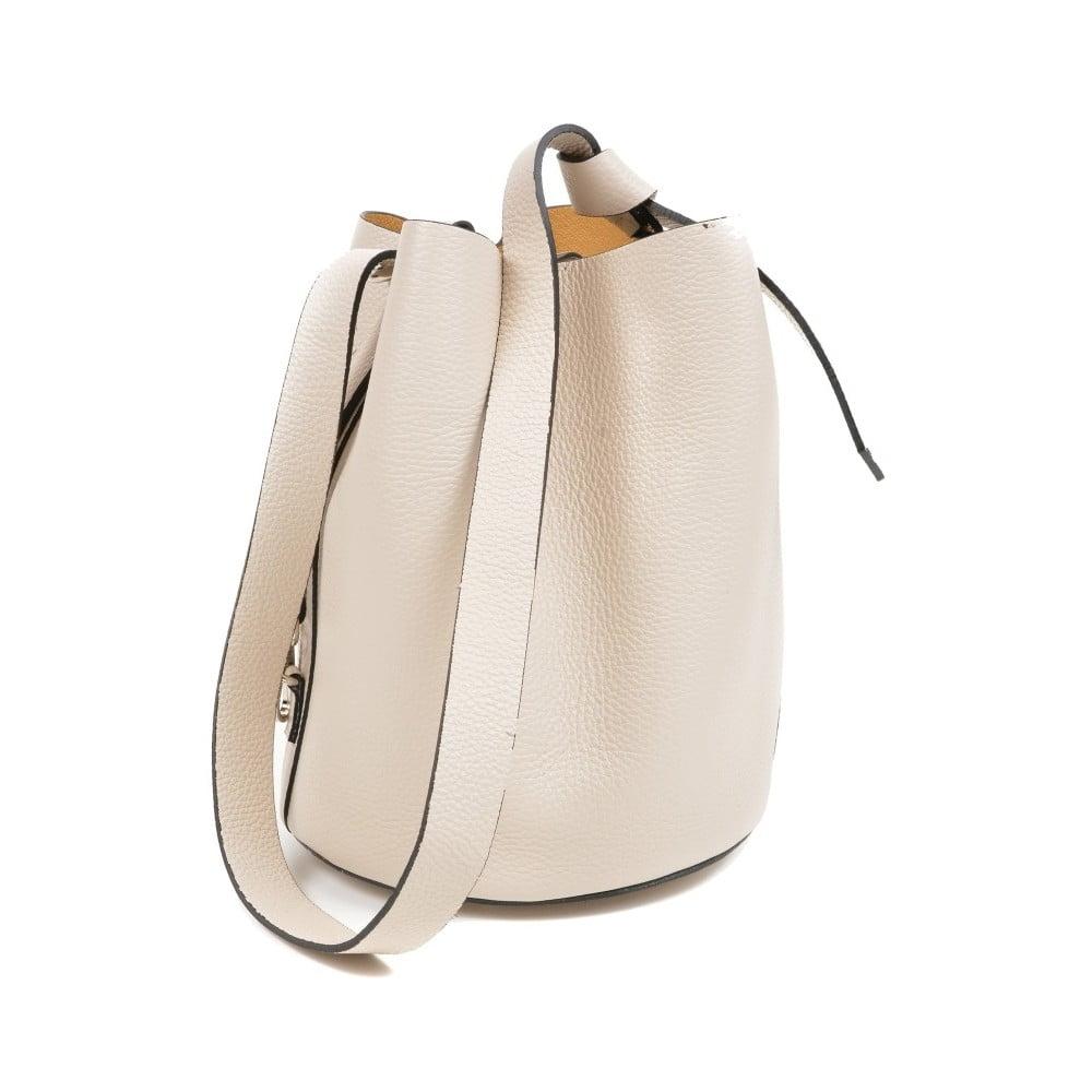 Béžová kožená kabelka Mangotti Bags Monica