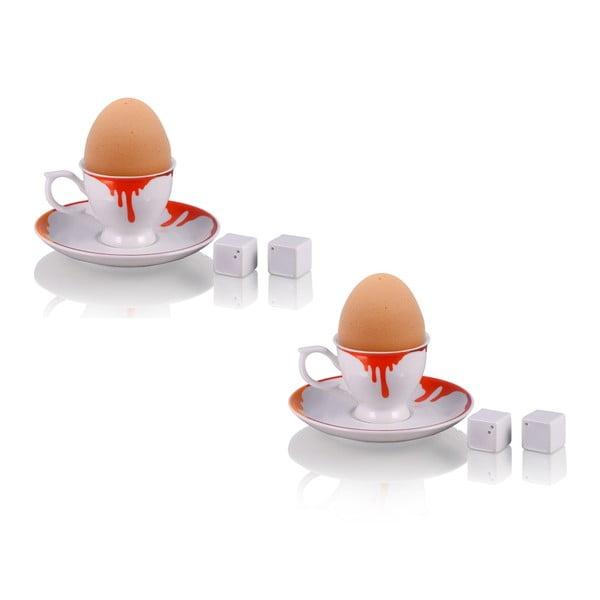 Sada 2 stojanov na vajíčka Colour so soľničkou a koreničkou