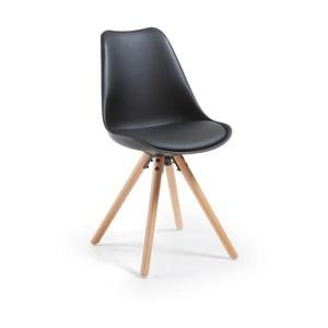 Čierna jedálenská stolička s drevenými nohami loomi.design
