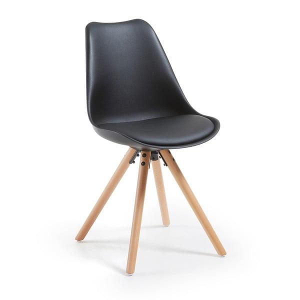 Čierna stolička s bukovými nohami loomi.design