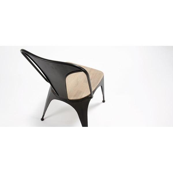 Čierna stolička s dreveným sedátkom La Forma Vita