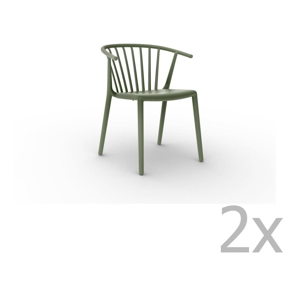 Sada 2 zelených jedálenských stoličiek Resol Woody