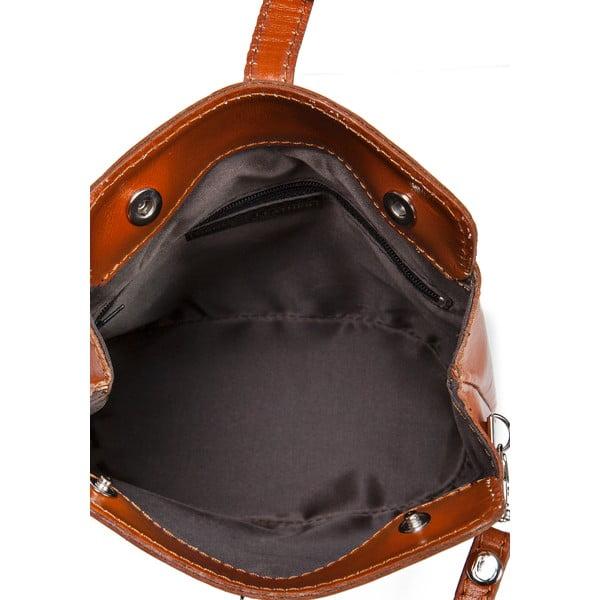 Koňakovohnedá kožená kabelka Massimo Castelli Silverio