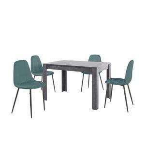 Set sivého jedálenského stola a 4 modrých jedálenských stoličiek Støraa Lori Lamar