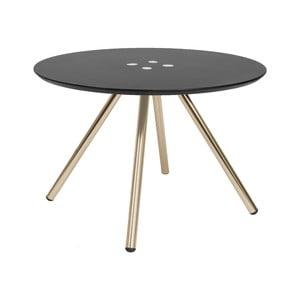 Čierny konferenčný stolík s pozlatenými nohami Letmotiv Sliced, ø 60 cm