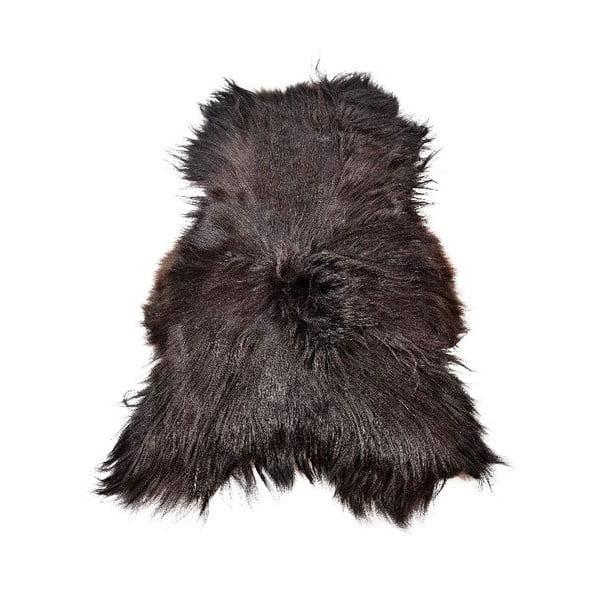 Tmavá ovčia kožušina s dlhým vlasom, 110 x 60 cm