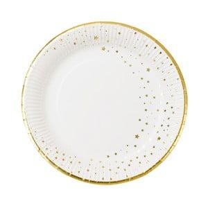 Sada 12 papierových tanierikov sa okrajom zlatej farby Talking Tables Metallics, ⌀ 23 cm