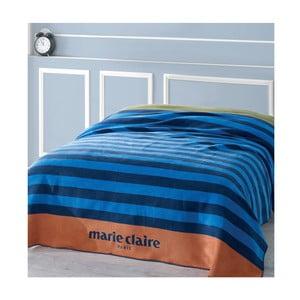 Modrá deka s čiernymi pruhmi z edície Marie Claire, 200×220cm