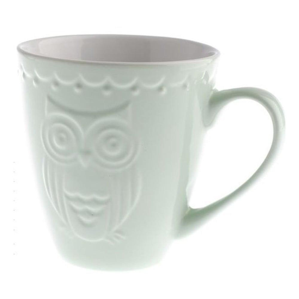 Svetlozelený keramický hrnček Dakls Owl, 530 ml