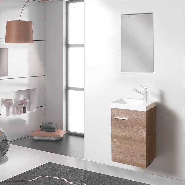 Kúpeľňová skrinka s umývadlom a zrkadlom Kai, dekor dubu, 40 cm