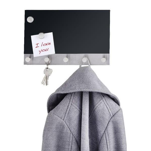 Magnetický vešiak na kabáty s nástenkou Wenko Black