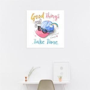 Nástenný samolepiaci obraz North Carolina Scandinavian Home Decors Take Time, 30×30 cm
