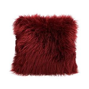 Vínovočervený chlpatý vankúš HF Living Fluffy, 45 × 45 cm
