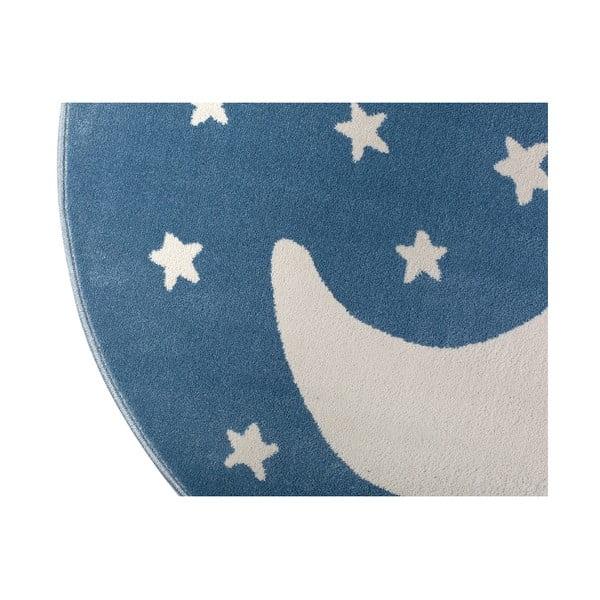 Modrý okrúhly koberec s motívom mesiaca KICOTI Azure Moon, 80 × 80 cm