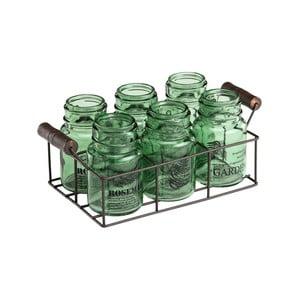 Sada 6 zelených pohárov s kovovým podnosom Ego Dekor Green Way