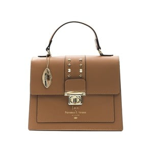 Koňakovohnedá kožená kabelka f.e.v. by Francesca E. Versace Salima