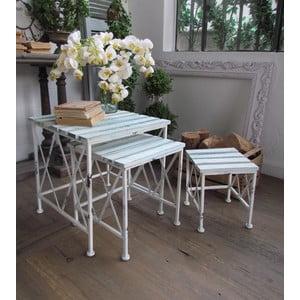 Set 3 stolíkov White Turquoise
